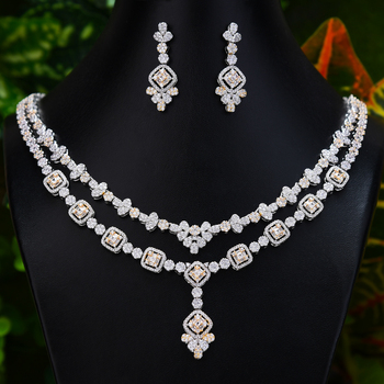 Luxury Jewelry Set For Women Wedding 2 Layers Lariat Drop Necklace Earring Set Full Cubic Zircon Dubai Bridal jewelry Set 2020