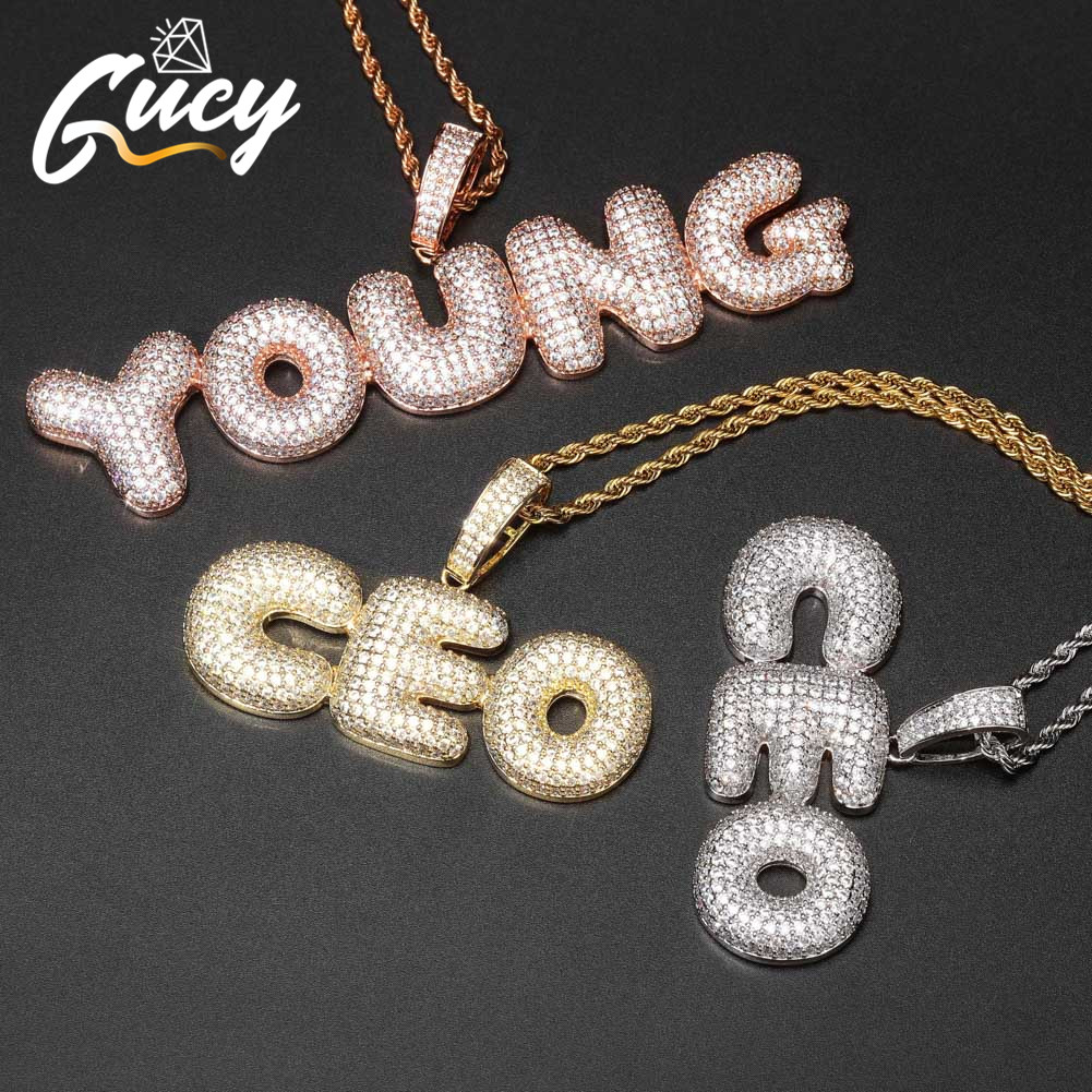 GUCY A Z Custom Name Bubble Letters Pendant & Necklace Charm Men's CZ Hip Hop Jewelry With Gold Silver Tennis Chain|Customized Necklaces| - AliExpress