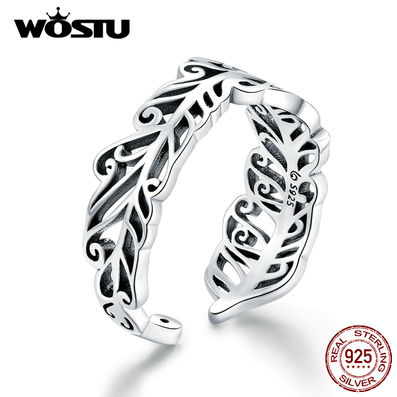 WOSTU Vintage Feather Open Rings 925 Sterling Silver Adjustable Size Ring Finger For Women Fashion Party Jewelry Gifts CTR109