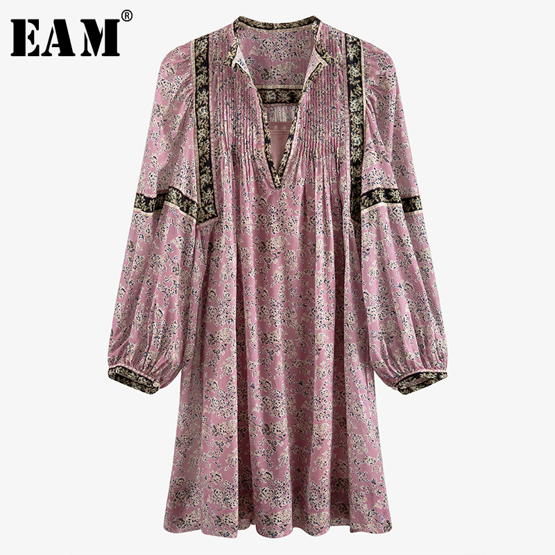 [EAM] Women Pattern Printed Pleated Vintage Dress New V-Neck Long Sleeve Loose Fit Fashion Tide Spring Summer 2020 7A038