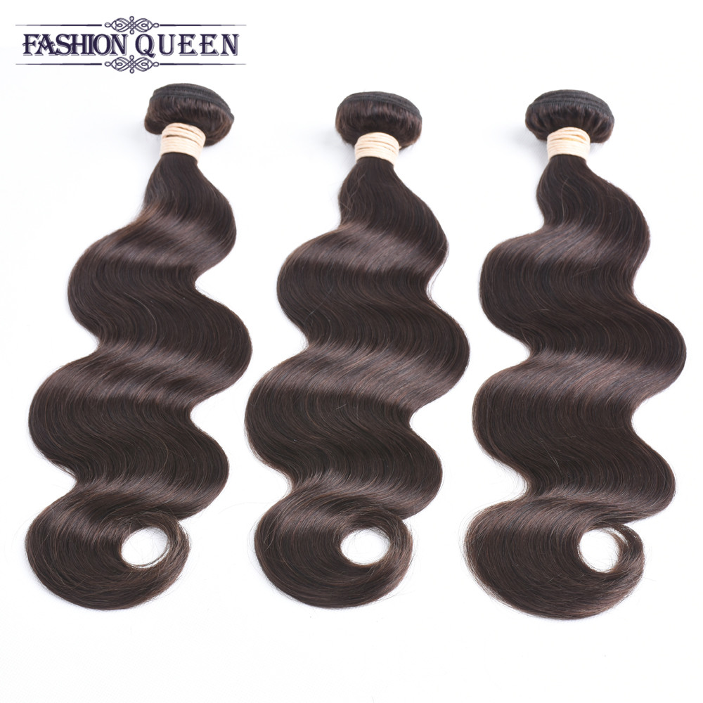 Pre-Colored Malaysian Body Wave 2# Dark Brown Non Remy Hair 3 Bundles Pack 100% Human Hair Weave Free Shipping Fashion Queen