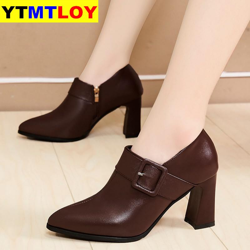 2020 Spring Genuine Leather Shoes Women Elegant Office Lady Business Dress Fashion Women Shoes Zip Buckle Botas Mujer
