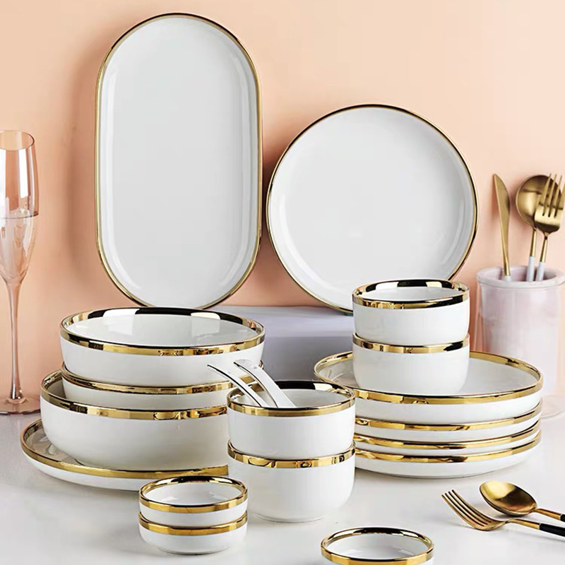 White Porcelain Plates for Food Dinner Set Dishes Salad Soup Bowl Ceramic Plates and Bowls Set Service for 2/4/6/8 Person