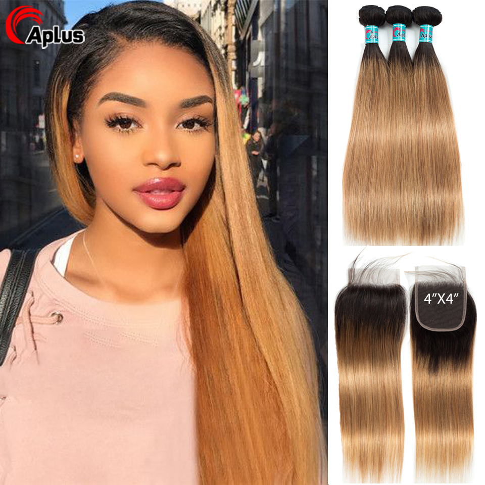 Aplus Hair Peruvian Ombre Bundles With Closure Straight 1B/27 Honey Blonde Bundles With Closure Remy Human Hair Weave Closure