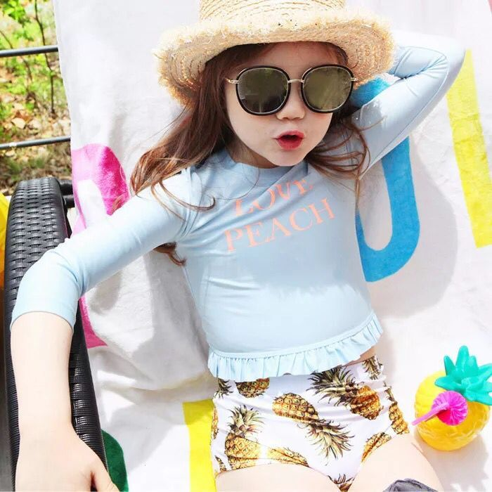 Pineapple South Korea CHILDREN'S Swimwear Split High Waist Pants Female Baby Belly Covering Bathing Suit Long Sleeve Sun-resista