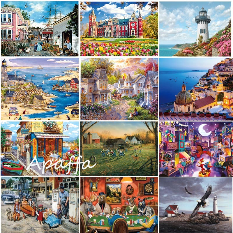 Jigsaw Puzzles Toys 1000 Pieces Wooden Assembling Picture Landscape Puzzles Toys For Adults Children Kids Games Educational Toys