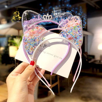 New Super Cute PVC Cat ear Hair Band girl baby Korean children Glitter Liusha Crown head band hair clip Princess girl ornament image