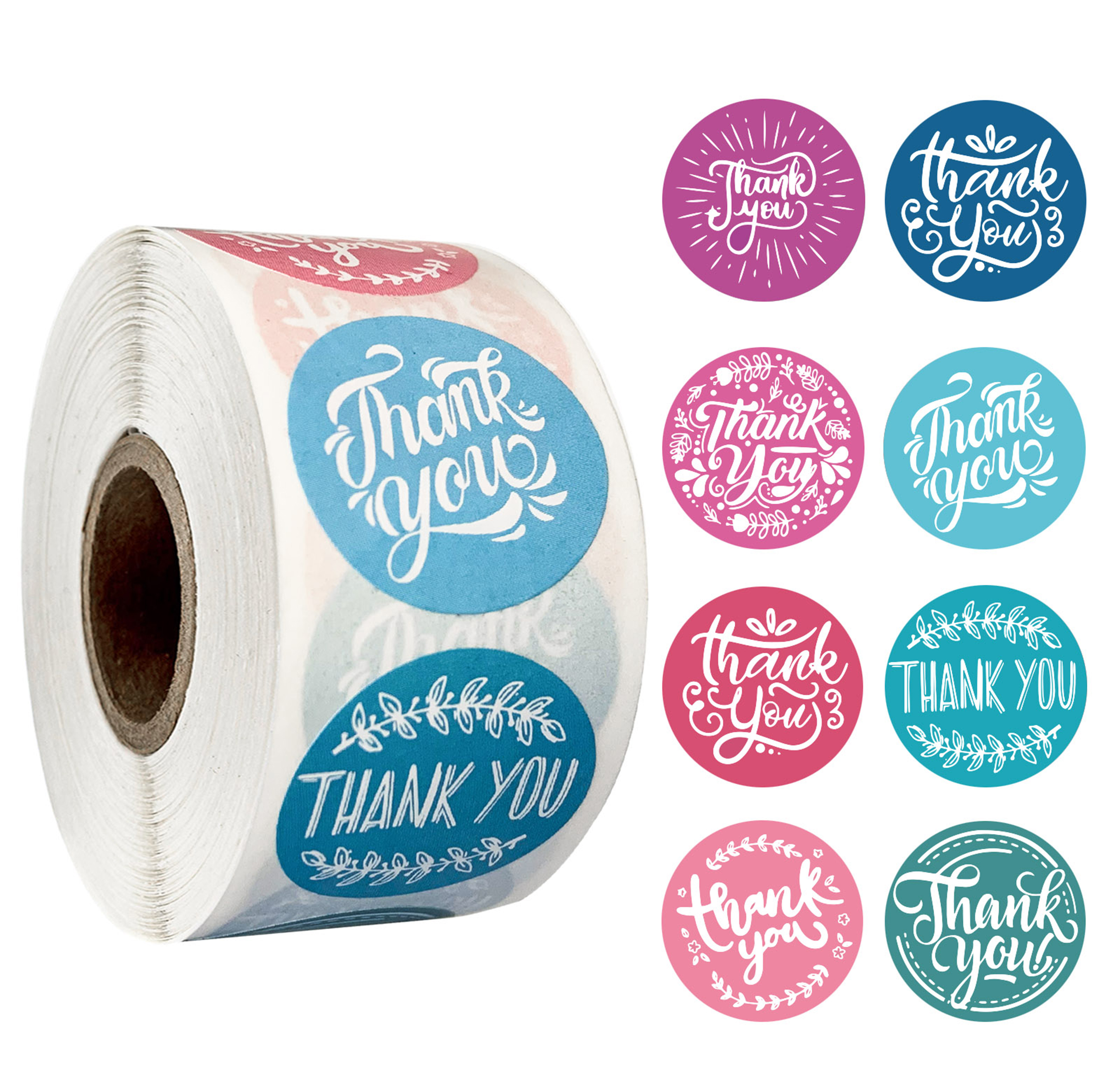 2 Roll Thank You Stickers 500 Labels Per Roll for Bubble Mailers /& Bags 8 Designs Thank You Sticker Roll Boutique Supplies for Business Packaging