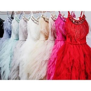 Image 3 - Fashion Feather Tassels Girls Dress 2 10 yrs Girl Wedding Party Dresses Kids Princess Dress Birthday Costume Childrens Clothing