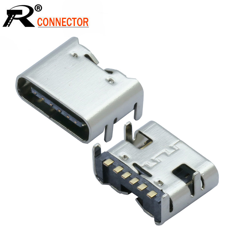 10pcs/lot USB Type C 6 Pin SMT Socket Connector USB 3.1 Type-C Female Placement SMD DIP For PCB Design DIY High Current Charging