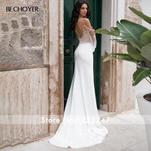 Image 2 - BECHOYER zarif boncuklu saten düğün elbisesi sevgiliye uzun kollu Mermaid 2 In 1 mahkemesi tren gelin kıyafeti Vestido de Noiva N170