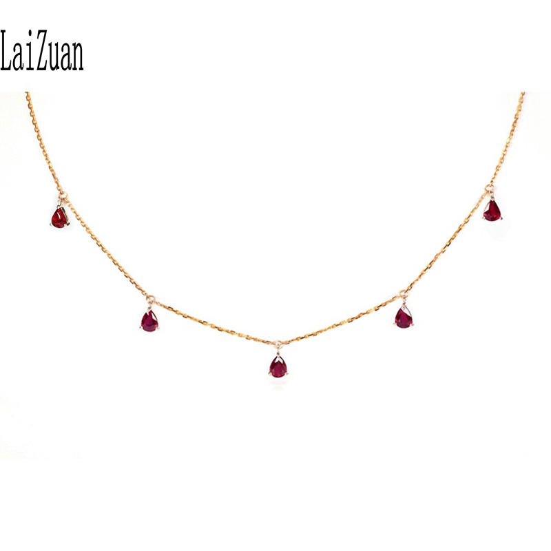 LaiZuan Solid 18K Rose Gold Pear cut 1.0ct Genuine Natural Red Ruby Women Trendy Fine Jewelry Elegant unique Chain Necklaces