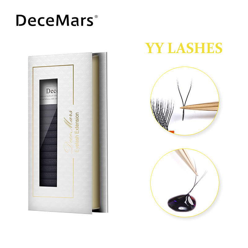 DeceMars YY Shape  Black Brown Eyelashes Extensions Two Tip Lashes C/D Curl Hand-woven High Quality  Individual Eyelashes Soft