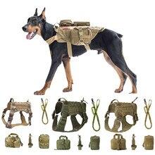 Arneses ajustáveis serviço tático cão colete treinamento caça boné militar patrulha cão alça de cinto à prova dk9 água caça k9