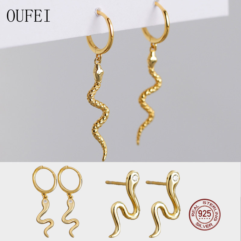 OUFEI 925 Sterling Silver Earrings For Women Animal Snake Earrings Simple Fashion Fine Earrings 925 Silver Jewelry Snake B1135