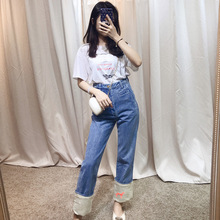 2019 White Curled Animals Embroidered Jeans Fisherman Pants Pockets Fashion Jeans Pants Woman цена и фото