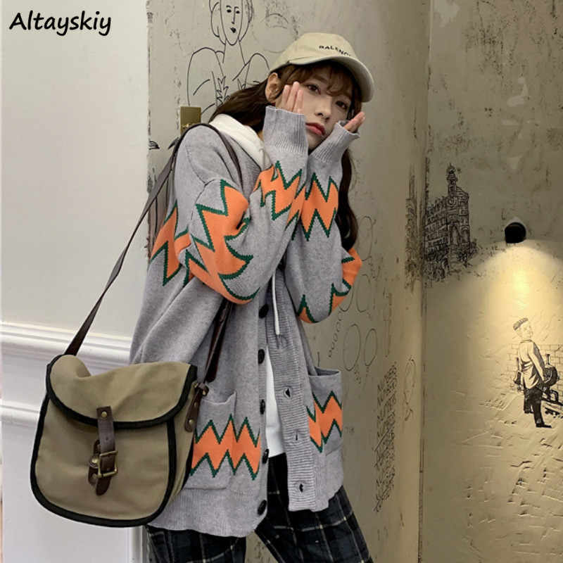 Cardigan Women Panelled Couple Top Unisex Knitted Sweater Oversize Outwear Fahion 2XL Streetwear Loose Ulzzang Casual Basic New