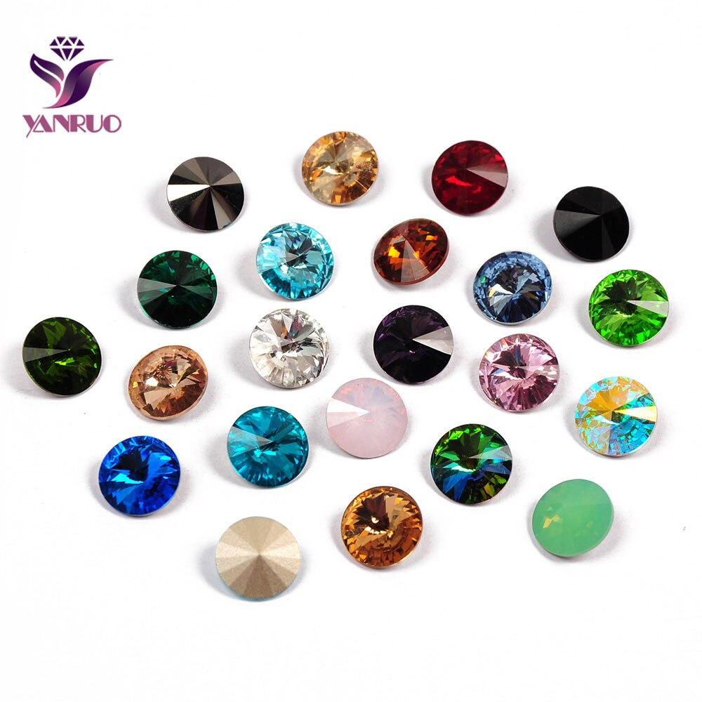 YANRUO 1122 Rivoli pierres fantaisie verre Strass cristal Pointback bijoux coudre sur Strass pour artisanat de bricolage couture