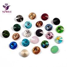 YANRUO 1122 Rivoli Fancy Stones Glass Strass Crystal Pointback Jewelry Sew On Rhinestones for Needlework DIY Crafts