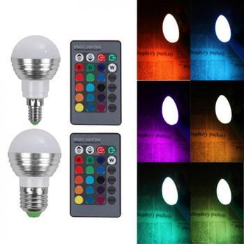 LED Bulbs 5W E27/E14 LED RGB 16 Color Change Spot Light Bulb Lamp + IR Remote Control Aluminum alloyColor Changing Bulbs new hot rgb led bulb e27 e14 magic lamp dimmable spot light ac110v 220v 16 color change lampada with 24k ir remote control