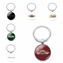 2019 New Friend Keychain Central Perk Coffee Time Glass Cabochon Keychain Christmas Charm Gift Fashion Jewelry to4rooms стол perk