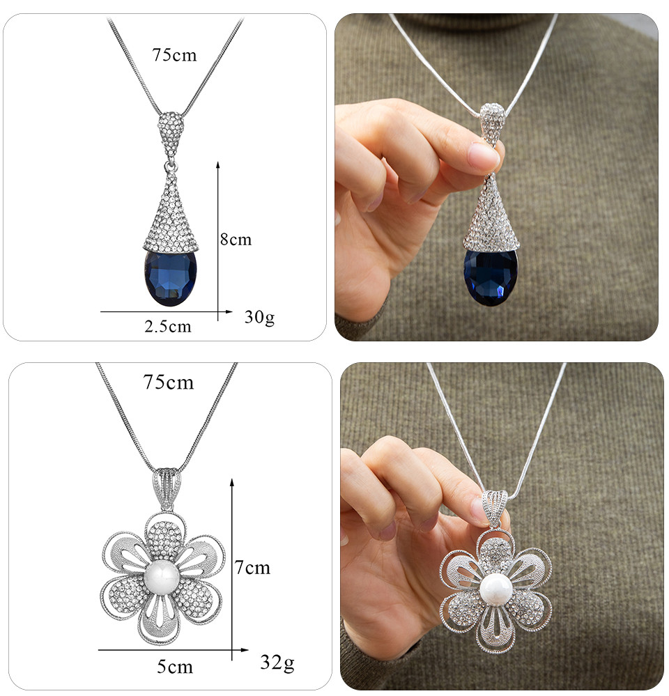 Simple Sweater Coat Necklaces Ladies Girls Long Black Leaf Natural Peacock Feather Crystal Pendant Necklaces for Women Jewelry  (115)