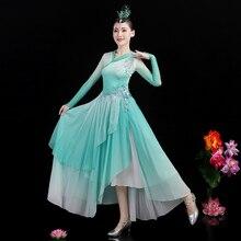2021 Fairy Flamenco Dance Dress Women Concert Outfits Performance Costume Green Ballroom Dance Wear Classical Dance Clothes