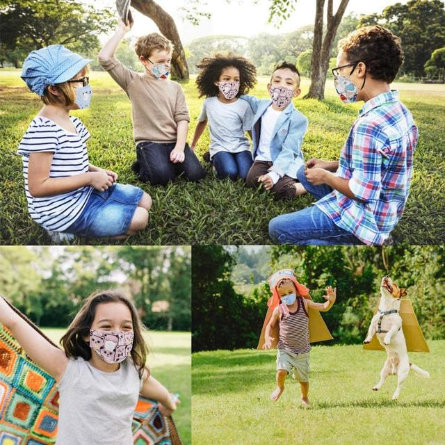 4-12 Years Children Face Mask with PM2.5 Filter Pad Boys/Girls Reusable Cotton Mask with Breathable Valve Kids Mask 4