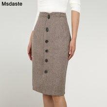 Женская шерстяная юбка винтажная клетчатая faldas mujer офисные