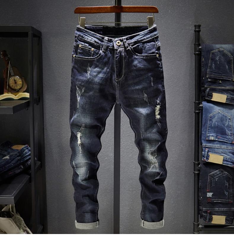 KSTUN Ripped Men Jeans Dark Blue Stretch Slim Fit  Destroyed Broken Holes Denim Pants Casual Biker Jeans Male Hip hop Mens Punk Jeans 11