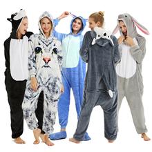 Adults Animal Pajamas Sets Cartoon Sleepwear Unicorn Onesies Stitch Kigurumi Unicornio Women Men Warm Flannel Hooded cheap JACK CHEUNGS Regular CN(Origin) Spandex Polyester Full Appliques Normal Winter