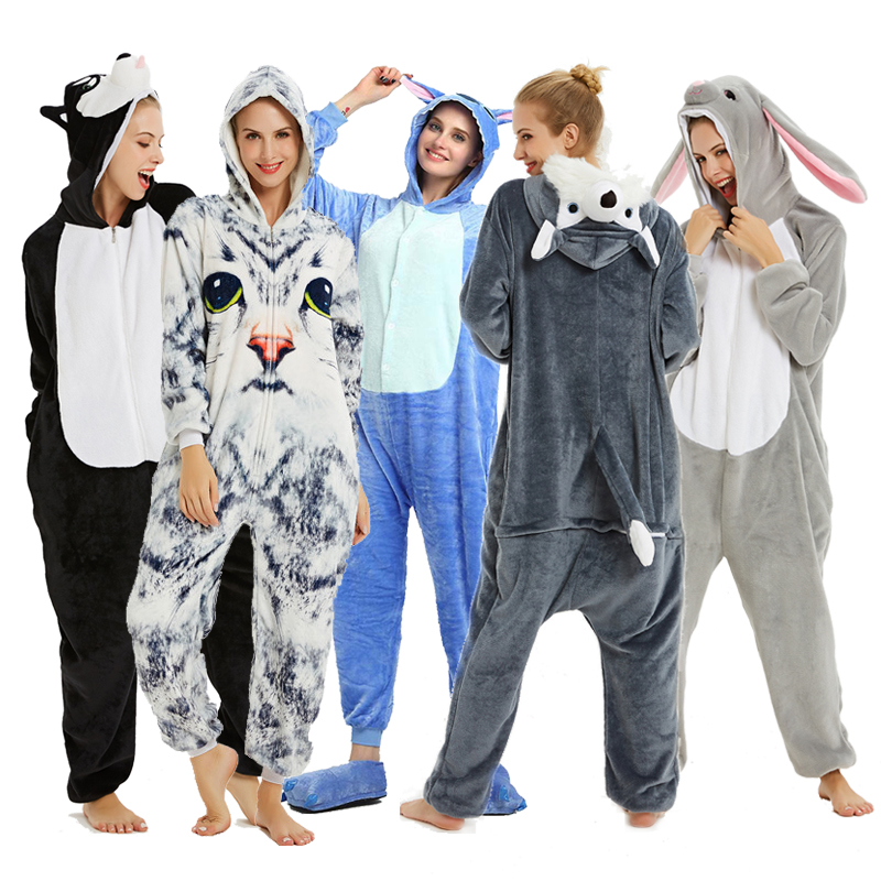 Adults Animal Pajamas Sets Cartoon Sleepwear Unicorn Onesies Stitch Kigurumi Unicornio Women Men Warm Flannel Hooded