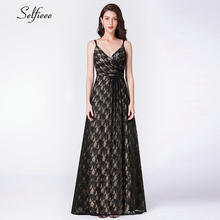 Sexy Black Lace Women Dress A-Line Deep V-Neck Sleeveless Spaghetti Straps See-Through Elegantg Maxi Party Dress Ropa Mujer 2019