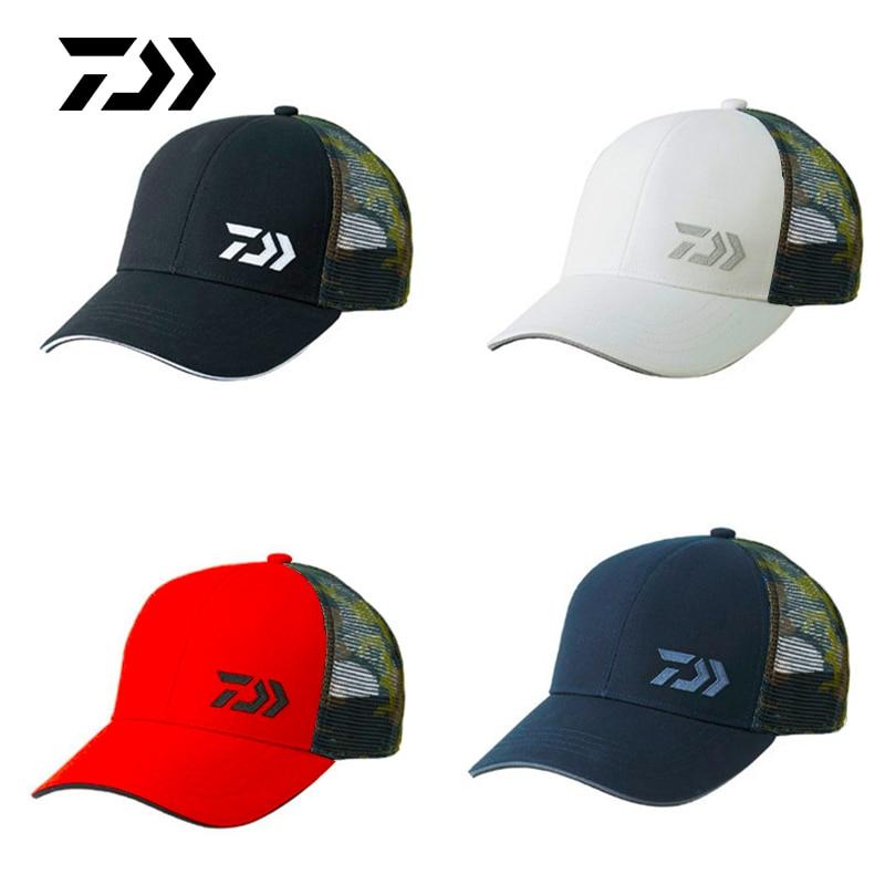 Daiwa Fishing Hats Summer Sunshade Anti-UV Sun Protection Hats Breathable Adjustable Outdoor Running Hiking Sports Golf Mesh Cap