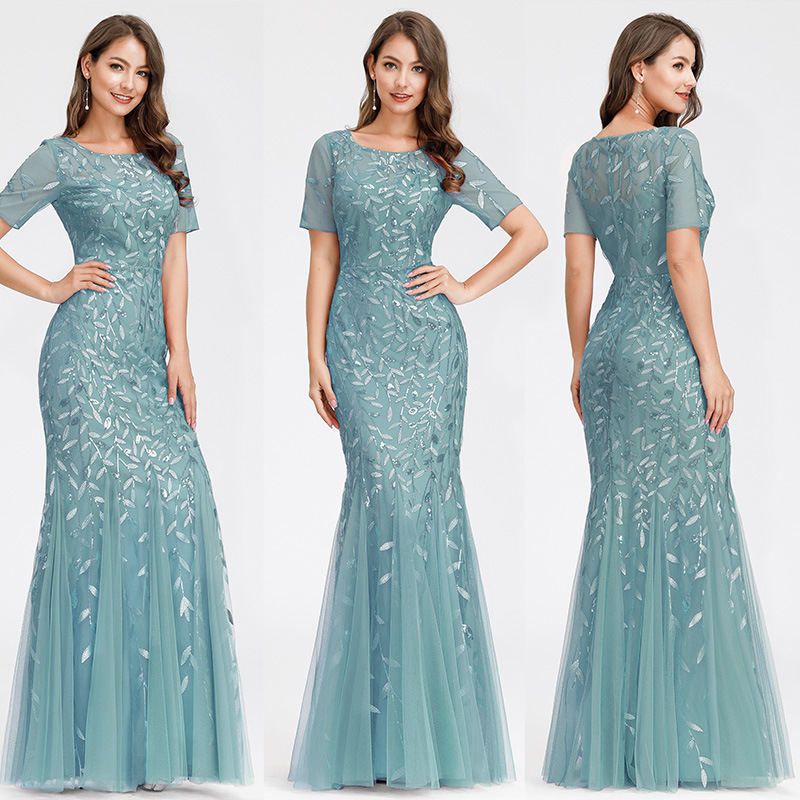 AWBD-7707#Bridesmaid dresses Long Trumpet / Mermaid Round neck short sleeve embroidery wedding party prom dress cheap wholesale