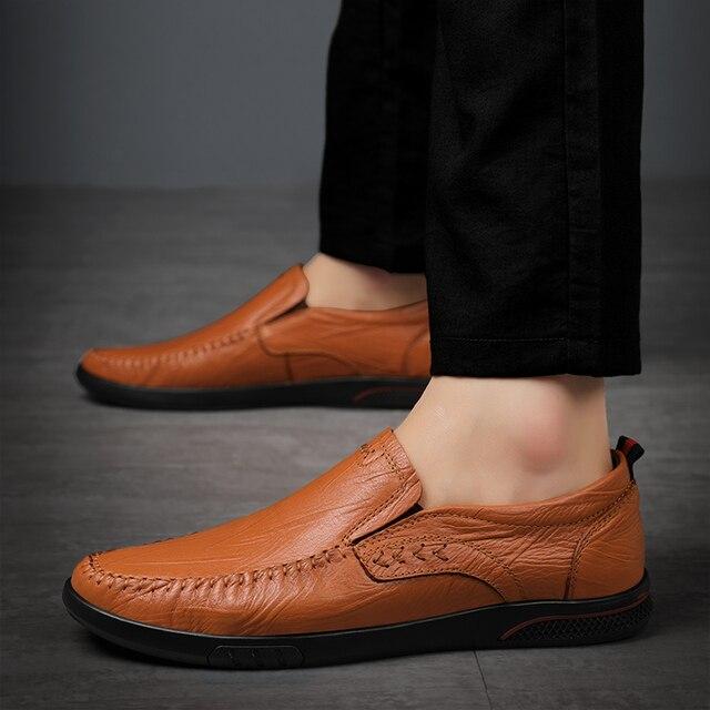 Купить мужские повседневные туфли из натуральной кожи удобные уличные картинки цена
