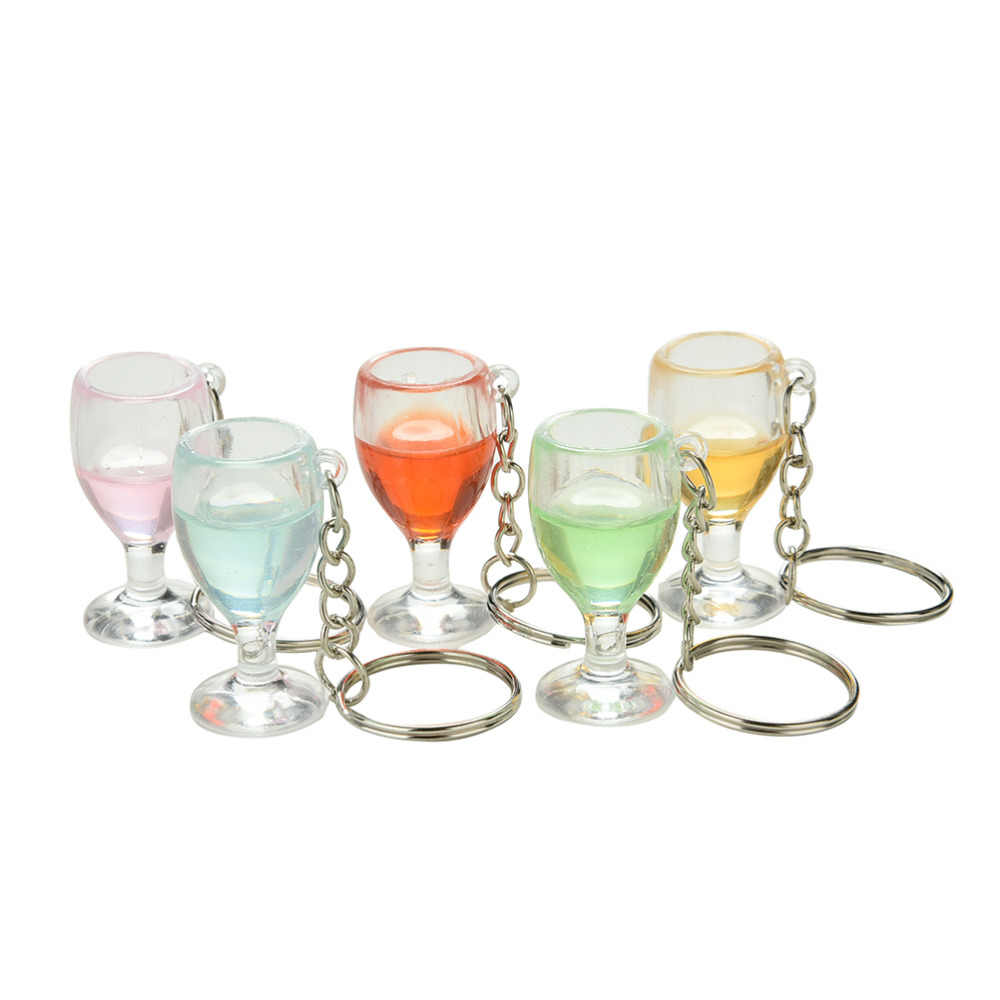 Colorful Fake Wineglass Car Key ring Key Chain For Women Gift Transparent Lanyard Keychain Random Color