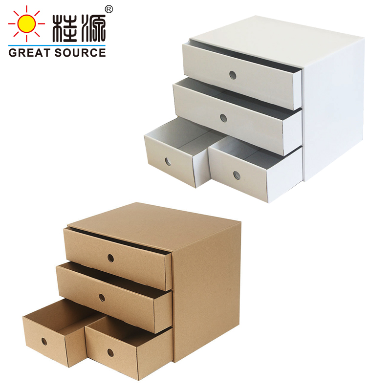 4 Drawers Storage Composable Cabinet Office Corrugate Foldable Home Storage Kraft Paper Environment Friendly(2PCS)