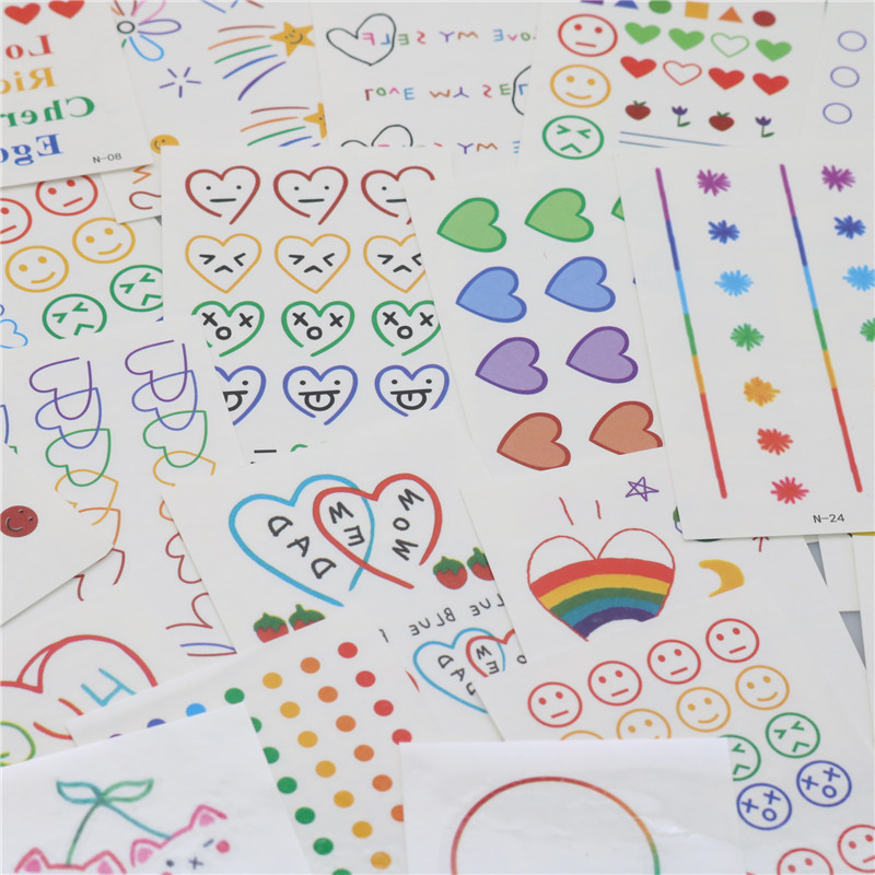 CHENG PIN 1 Bag 30 Pcs Kawaii DIY Stationery Stickers Cute Children Stickers Office Stationery Beautiful Tattoo Sticker