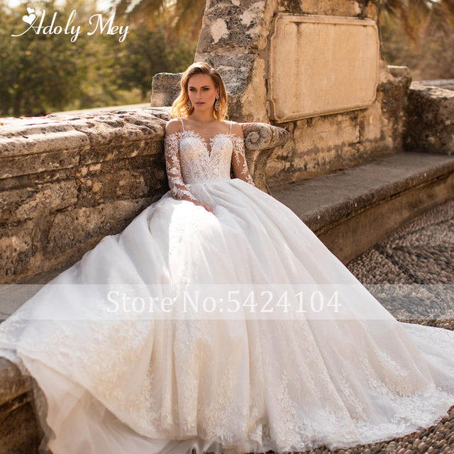 Glamorous Lace Appliques Court Train A-Line Wedding Dress 2021 Luxury Sweetheart Neck Beading Long Sleeve Princess Wedding Gown 3