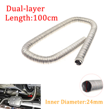 100cm 24mm Dual layer Car Auto Heater Exhaust Pipe Air Diesel Heater Exhaust Hose Tube Stainless Steel For Webasto Eberspacher