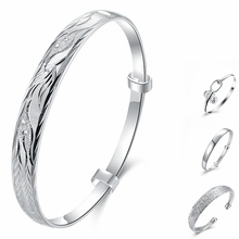 2018 New 925 Silver Lucky Women Open Cuff Bangle & Bracelet Luxury Jewelry Small Hollow Wholesale Retail