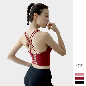 Image 1 - Women Wireless Bras Padded High Impact Sexy Strappy Yoga Tops Bra for Girl Fitness Gym Sports Underwear Comfortable