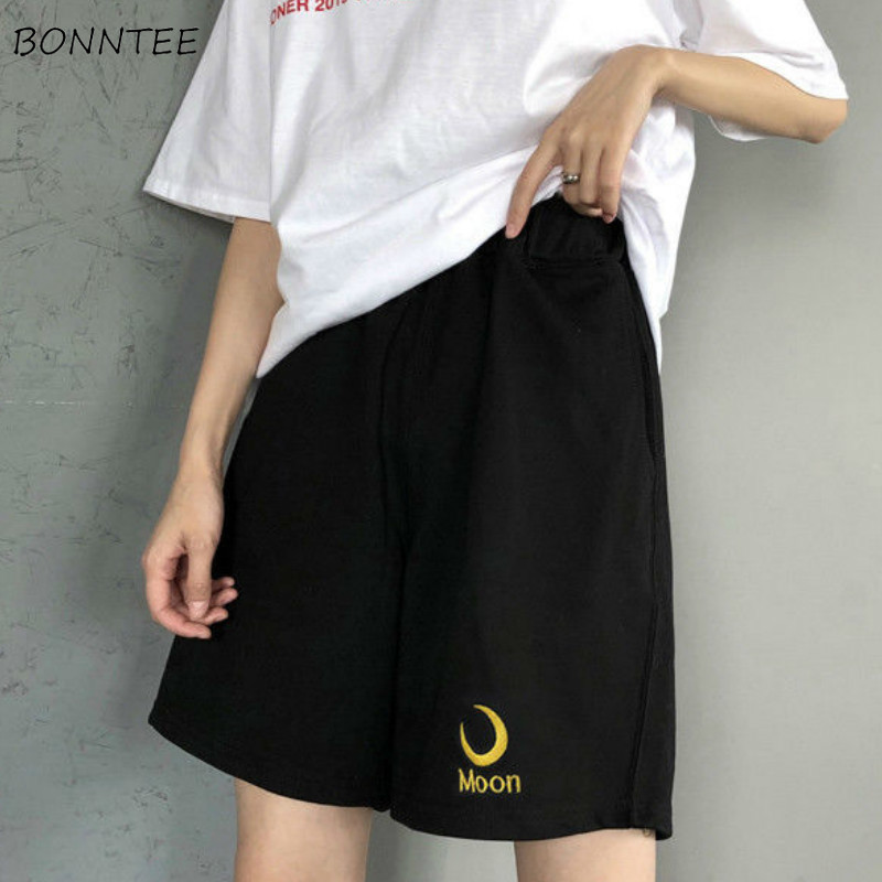 Shorts Women High Waist Printed Wide Leg Casual Short Korean BF Retro Harajuku Summer Black Loose Students Streetwear Womens New