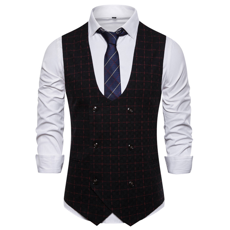 New Men's Vests Dress Suits Casual Slim Fit Plus Size Plaid Double-breasted Sleeveless Suit Vests For Men Autumn Winter Clothing