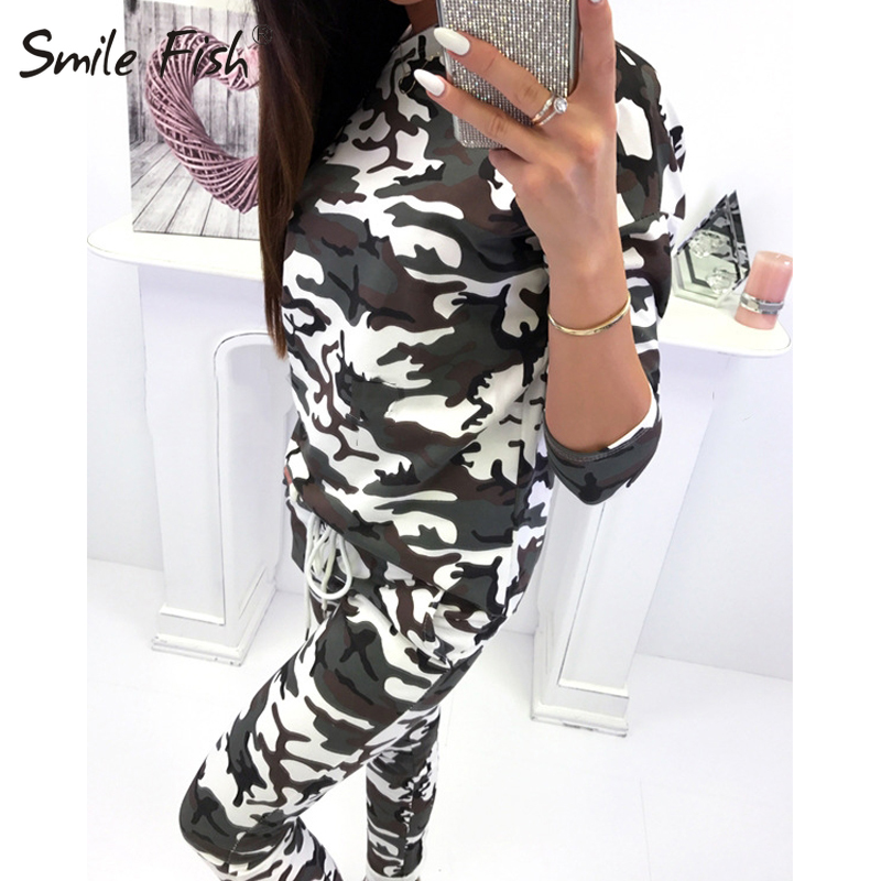 Camouflage Printed Two Piece Sets Female Off Shoulder Hoodies Long Pants Suits Autumn Winter Women's Sets Tracksuits Tops M0220