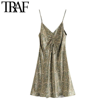 TRAF Women Chic Fashion With Bow Paisley Print Cozy Mini Dress Vintage V Neck Adjustable Straps Female Dresses Mujer 1