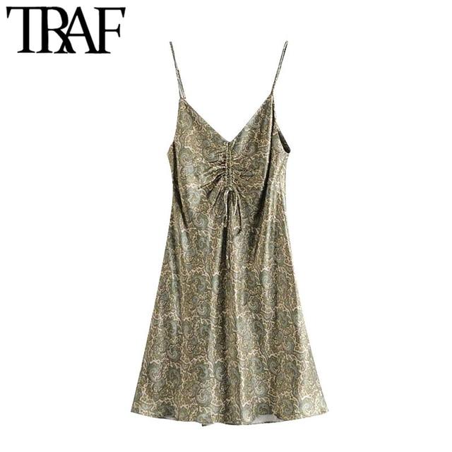 TRAF Women Chic Fashion With Bow Paisley Print Cozy Mini Dress Vintage V Neck Adjustable Straps Female Dresses Mujer 1