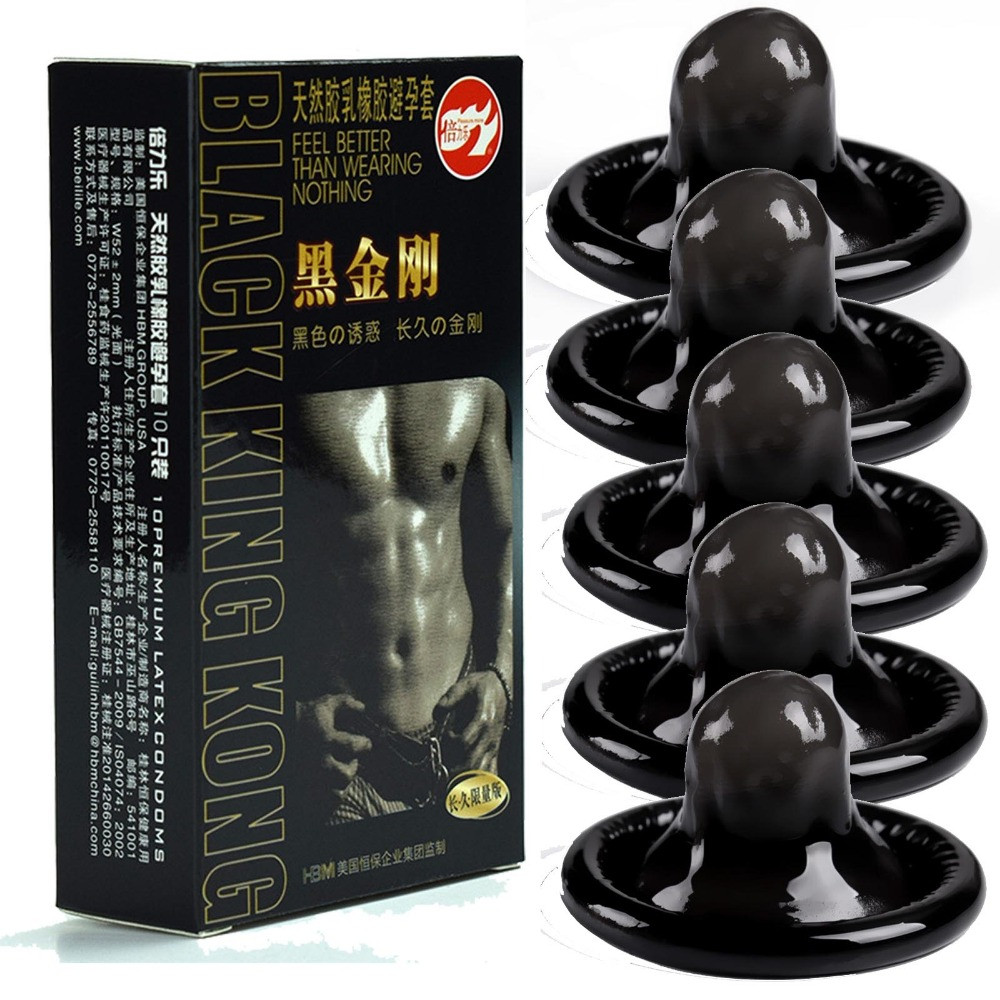 10pcs Condoms Black Durable Ultra Thin Penis Sleeve Long Lasting Natural Latex Lubricated Condoms Men Contraception Sex Products