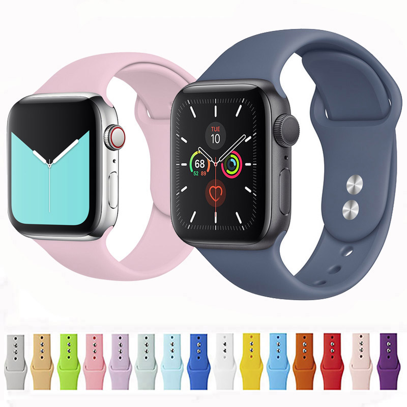 Silicone Strap For Apple Watch Band 4 5 44mm 40mm Iwatch 42mm 38mm Band Sport Bracelet Watchband Apple Watch 4 3 2 1 Accessories
